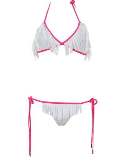 Babylon Triangle Bikini in Pink/ Weiß mit Fransen