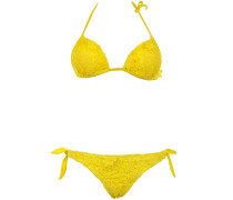 Push Up Triangle Bikini aus Makramee-Spitze in Sonnengelb Brazilian Cut