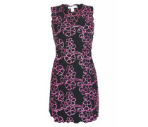 Kleid mit Blütenstickerei in schwarz