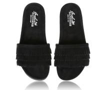 Sandalen aus Leder mit gearbeiteten Fransen im mondänen Scharz