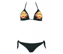 Padded Triangle Bikini in schwarz mit Perlenstickerei