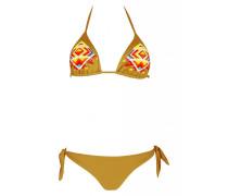 Padded Triangle Bikini in braun mit Perlenstickerei