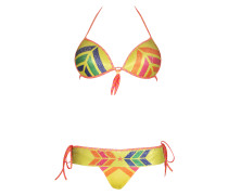 Push-Up Bikini Navajo mit Pailletten in gelb