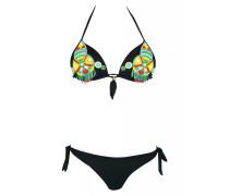 Push Up Bikini in schwarz mit Perlenstickerei