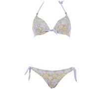 Bügel Bikini aus Makramee-Spitze in Hellblau auf Gelb ideal für C/D Cups