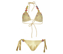 Padded Triangel Bikini mit Häkeldetails in Gold