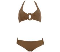 Triangle Bikini mit Schmuckschnalle in Mokka