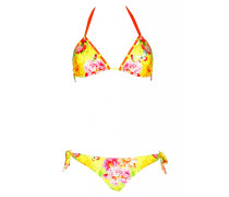 Padded Triangle Bikini mit Blumenprint in gelb
