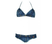 Triangle Bikini Denim mit Fransen
