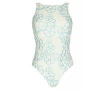 Badeanzug mit Blütenstickerei in Weiß