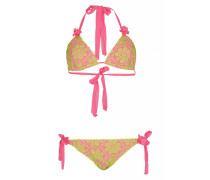 Padded Triangel Bikini mit Blütenstickerei in Pink