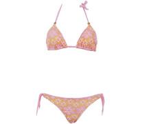 Gefütterter Triangle Bikini aus Makramee-Spitze in Rosa auf Gelb ideal für A/...