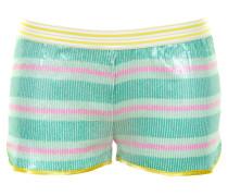 Shorts mit Pailletten und Streifenmuster in Grün-Weiß-Pink