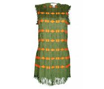 Kleid mit Fransen in Lederoptik grün