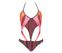Monokini aus geflochtenem Stoff in Multi Color