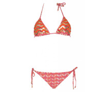 Padded Triangle Bikini mit Stickerei und Pailleten