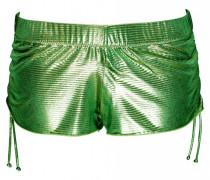 Short im Metallic-Look in grün
