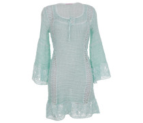 Kleid aus Leinen-Mix mit Makramee-Spitze in Hellgrün