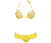 Push up Bikini mit Pailletten- Blumen in Gelb