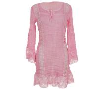 Kleid aus Leinen-Mix mit Makramee-Spitze in Hellrosé