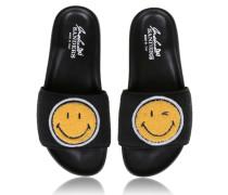 Sandalen aus Leder in Schwarz mit Smiley-Icon