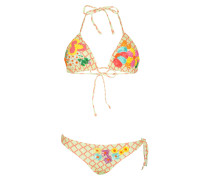 Padded Triangle Bikini mit Stickerei Besatz