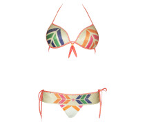Push-Up Bikini Navajo mit Pailletten in weiß