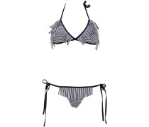 Reine Triangle Bikini im Streifenmuster Navy-Weiß und mit Fransen