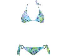 Triangle Bikini mit grafischem Print in Grün-Blau