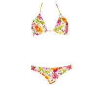 Padded Triangle Bikini gesmokt mit Blütenprint