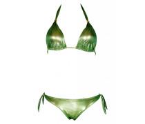 Padded Triangle Bikini im Metallic-Look in grün