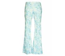 Hose mit Blütenstickerei in weiß