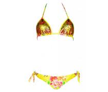 Padded Triangle Bikini mit Pailletten in gelb