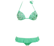 Push up Bikini mit Pailletten- Blumen in Grün