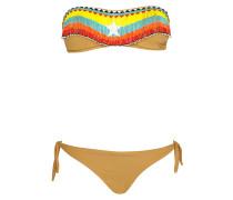 Padded Bandeau Bikini mit Perlenstickerei