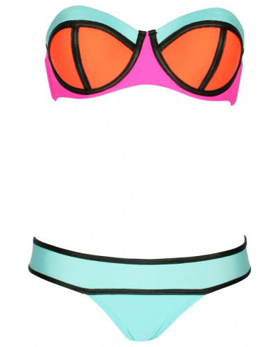 Neo Block Color Push Up Bandeau Bikini