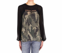 Bluse mit Camouflage-Print