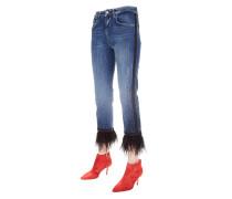 Jeans mit abtrennbaren Federapplikationen
