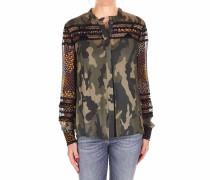 Camouflage-Bluse mit Kontrasteinsatz