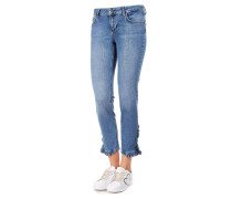 Cropped Jeans mit Rüschendetail