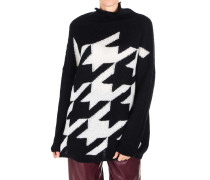 Oversize-Sweater mit Hahnentrittmuster