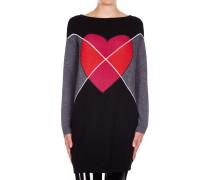 Maxi-Sweater mit Herz-Muster