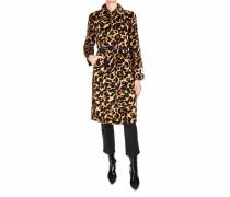 Fake Fur Mantel mit Animalprint