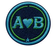 Label LOVE · 4cm · türkis/grün · personalisierbar - Patches & Accessoires: hochwertig bestickt