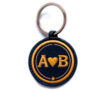Schlüsselanhänger LOVE gelb/beige - Patches & Accessoires: hochwertig bestickt