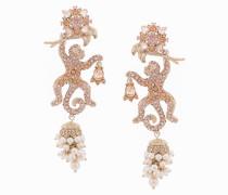 jewel encrusted lizard earrings - Metallisch