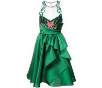 embroidered halterneck ruffled dress - Grün
