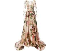 lace panel flared gown - Nude