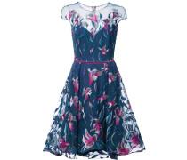 embroidered flared dress - Blau