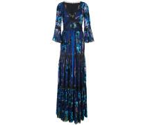 Geblümtes Abendkleid mit metallischen Nähten - Blau